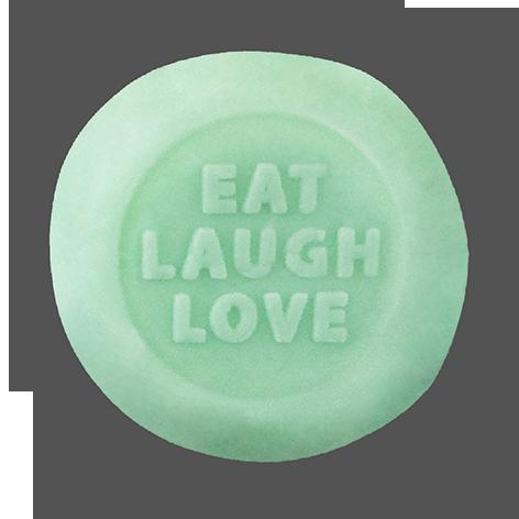 """#38 MOCHI GELATO DI PANNA CON FONDENTE TURCHESE & DICITURA """"EAT LAUGH LOVE"""""""
